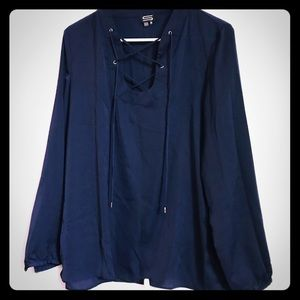 Sioni dark blue silky shirt top with cross strings
